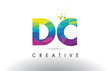 DC D C Colorful Letter Origami Triangles Design Vector.