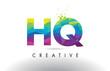 HQ H Q Colorful Letter Origami Triangles Design Vector.