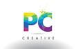 PC P C Colorful Letter Origami Triangles Design Vector.