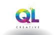 QL Q L Colorful Letter Origami Triangles Design Vector.