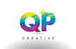 QP Q P Colorful Letter Origami Triangles Design Vector.