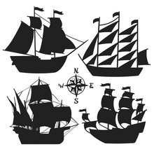 Set Of Simple Sketch Illustrations Old Sailboats, Pirate Ships With A Sail Silhouette