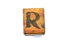R Capital Letter Wooden Vintage Printing Block