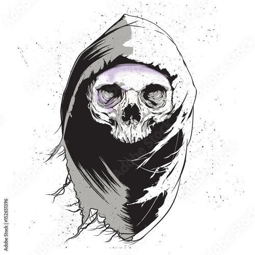 Grim Reaper Isolated On White Background, Vector Illustration Slika na platnu