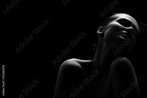 Obraz beautiful totpless woman with closed eyes on black background monochrome - fototapety do salonu