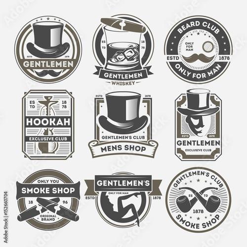 133c9b8b5dc Gentleman vintage isolated label set. Smoke shop badge