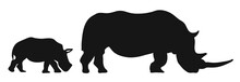 Two Rhinoceroses Silhouettes