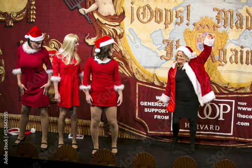 Actress and comedian Amy Poehler dances with characters from