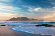canvas print picture - landmark table mountain in cape town south africa scenic view from blouberg