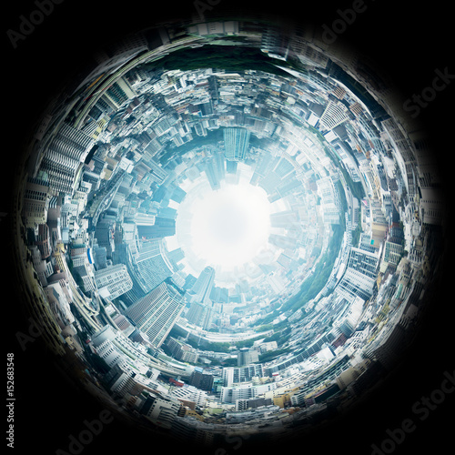 Circle panorama of urban city skyline, such as if they were taken with a fish-eye lens Wall mural