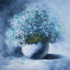 Fototapeta Do jadalni Original oil painting on canvas - A bouquet of blue flowers in a white round vase - Modern Art