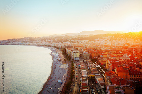 Poster de jardin Nice cityscape of Nice with beach and sea at sunset, French Riviera, France, retro toned