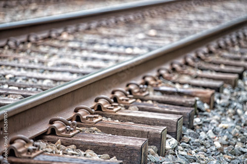 Canvas Prints Railroad Railroad tracks detail close up
