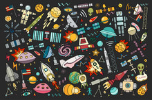 Cartoon Vector Illustration Of Space.Moon, Planet, Rocket, Earth, Cosmonaut, Comet Universe Classification Milky Way