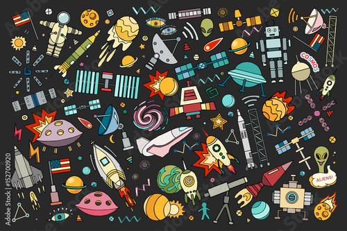 Cartoon vector illustration of space Tableau sur Toile