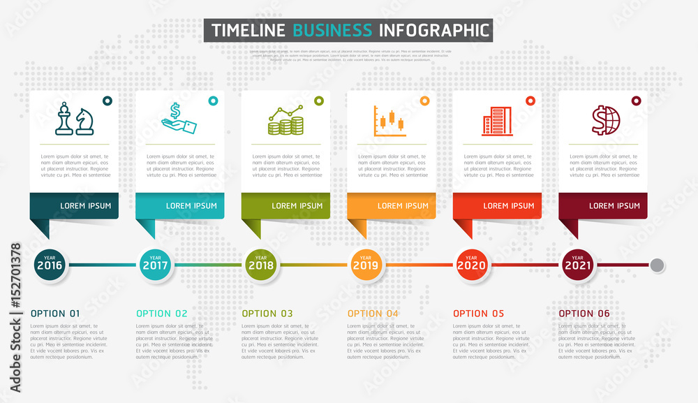 Fototapety, obrazy: Vector infographics timeline design template with 3D paper label, integrated circles background. Timeline infographic design vector and marketing icons.
