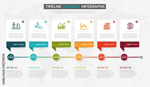 Fényképezés  Vector infographics timeline design template with 3D paper label, integrated circles background