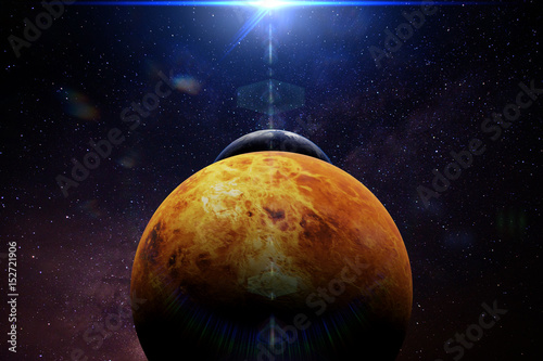Canvas Print planet Venus in front of the Earth and the Sun