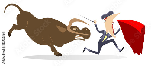 La pose en embrasure Corrida Bullfighter and angry bull isolated. Frightened bullfighter with sword and cape runs away from the angry bull