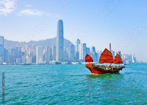 Foto op Aluminium Hong-Kong View of Hong Kong skyline with a red Chinese sailboat passing on the Victoria Harbor in a sunny day.