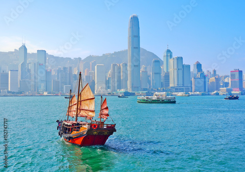 View of Hong Kong skyline with a red Chinese sailboat passing on the Victoria Harbor in a sunny day Canvas Print
