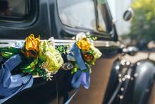 Vintage Black Wedding Car Groom At The Wedding.