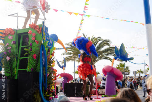 Fotografie, Tablou  Back view of carnaval parade participants with colorful feathers