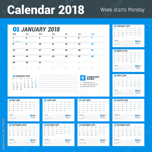 calendar template for 2017 year business planner stationery design