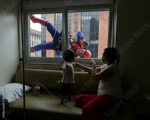 Men Dressed As Spiderman Jokes With Patient Lucas And His Mother