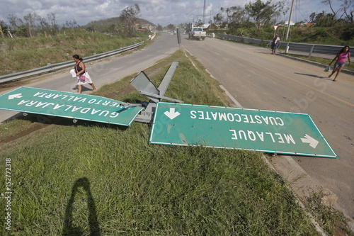 Roadsigns Felled By Wind Is Seen After The Passing Of Hurricane