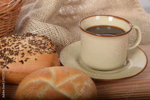 Photo Stands Coffee beans Baguettes with sesame and warm sweet coffee