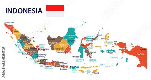 Photo Indonesia - map and flag – illustration