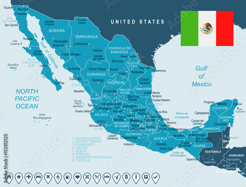 Mexico - map and flag – illustration Canvas Print