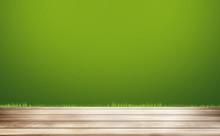 Green Grass Wooden Floor Background. 3d Rendering