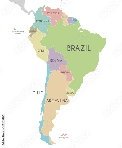 Political South America Map vector illustration isolated on ...