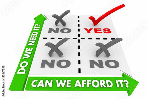 Photo Budget Decision Matrix What Do You Need Vs Afford 3d Illustration