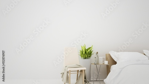 Fotografie, Obraz  The interior furniture white background and living - 3D Rendering