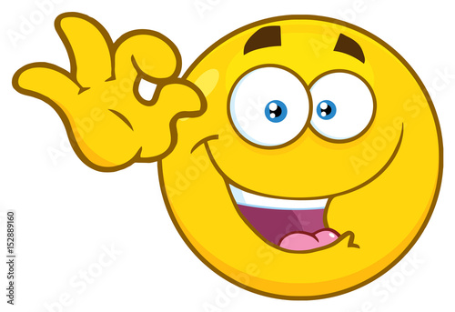Funny Yellow Cartoon Emoji Face Character Gesturing Ok Illustration