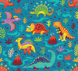 Fototapeta Dinusie - Seamless pattern with cartoon dinosaurs
