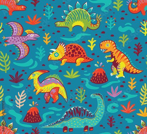 Bezszwowy wzór z kreskówka dinosaurami