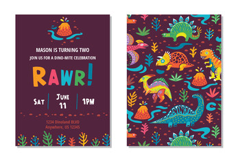 Dinosaurs party card design. vector illustration