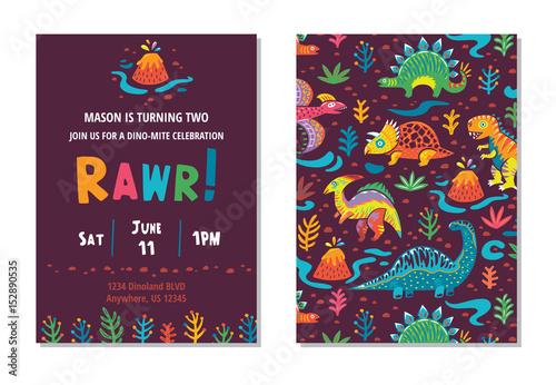 Projekt karty party dinozaurów. ilustracji wektorowych