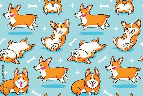 fototapeta na lodówkę Corgi seamless pattern. Funny background with cartoon dogs