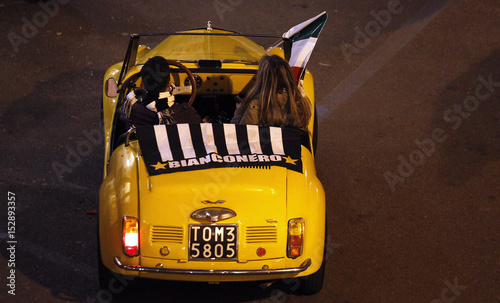Juventus Supporters Celebrates In Old Fiat 500 At Downtown Turin