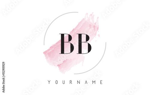 Photo BB B B Watercolor Letter Logo Design with Circular Brush Pattern.