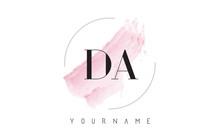 DA D A Watercolor Letter Logo Design With Circular Brush Pattern.