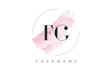 FG F G Watercolor Letter Logo Design With Circular Brush Pattern.