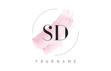 SD S D Watercolor Letter Logo Design With Circular Brush Pattern.