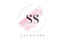 SS S S Watercolor Letter Logo Design With Circular Brush Pattern.