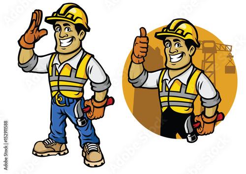 Fotobehang Indiërs Cartoon of construction worker